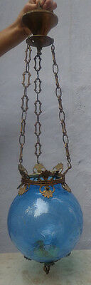 Blue Crackle Glass Hall Lantern Chandelier