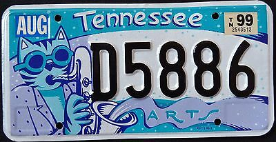 """TENNESSEE """" ARTS - SAXOPHONE CAT """" TN Graphic License Plate"""