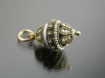 RARE ANTIQUE FRENCH 18ct GOLD ENAMEL & PEARL PENDANT CHARM C.1900