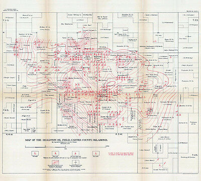 1914 Map of the Healdton Oil Field Carter County Oklahoma Gas