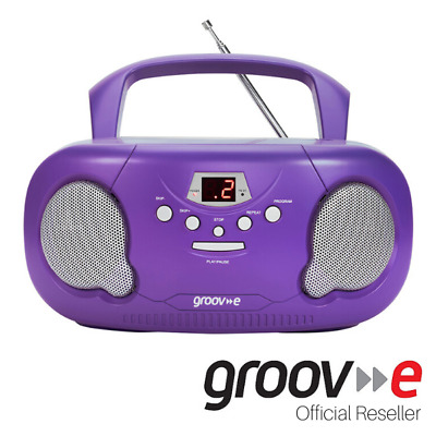 New Groov-E Boombox Portable Cd Player With Radio And Headphone Jack - Purple