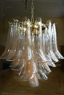 1960-70 Murano Mazzega Chandelier - Pink Champagne Petals. Mid-Century Modern