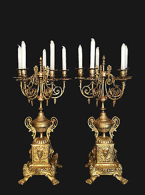 Exceptional Large Pair Of Heavy 5 Arm French Antique Bronze Candelabras