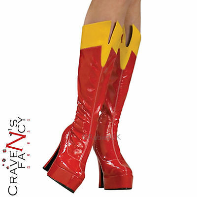 Official Supergirl Costume Boots Ladies Fancy Dress Superhero Womens Accessories