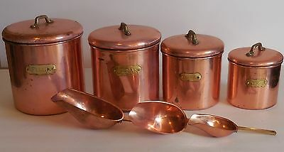 Set vintage brass metal canisters flour suger coffee tea and 3 scoops!