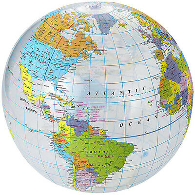 Beach Ball Atlas Inflatable World Map Blowup Globe Geography Educational Toy 14""