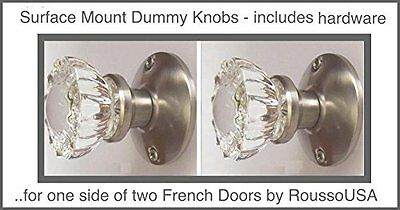 Two Crystal Antique Replica Surface Mount Single Dummy/French Door Knob Sets for