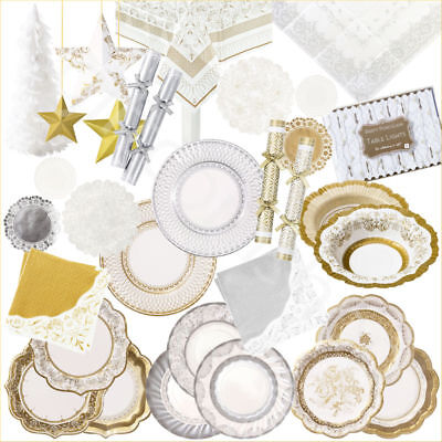 Talking Tables Gold Silver Christmas Party Tableware Plates Napkins Crackers