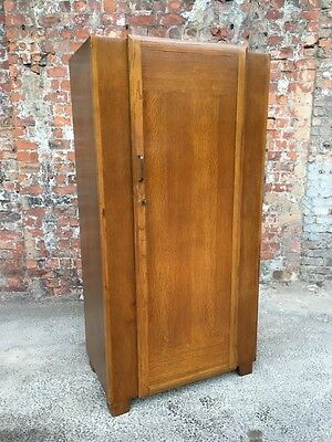Mid-Century Vintage Single Door Narrow Oak Gent Wardrobe - Hall Hallway Wardrobe