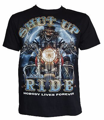 Shut Up and Ride Glow in the Dark Double Sided Print Skeleton Biker Goth T-Shirt