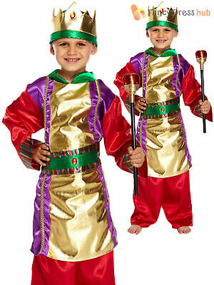 Boys King Costume Childs Christmas Fancy Dress Kids Nativity Play Xmas Outfit