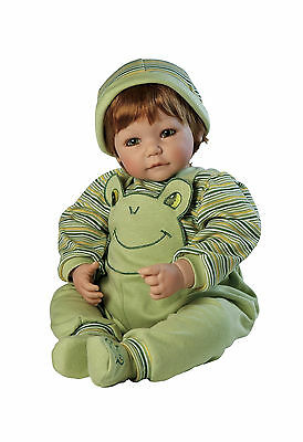 """Adora 20"""" BABY PLAY DOLL FROGGY FUN BOY Frog Red Hair Prince Stripes Jumper NEW"""