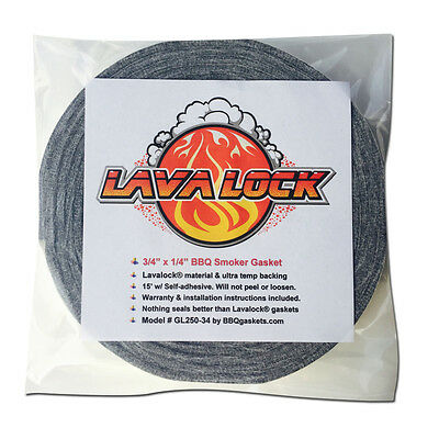 "Grey Lavalock® Gasket High Temp BBQ Smoker Grill Self Stick 3/4"" x 1/4"" x 15'"