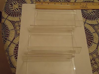 Lot of 6 Small Clear Acrylic Slatwall Shelves with Front Lip 5x3
