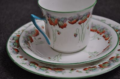 Art Deco Vintage Foley England Ostend Stunning Trio Set With Extra Cup