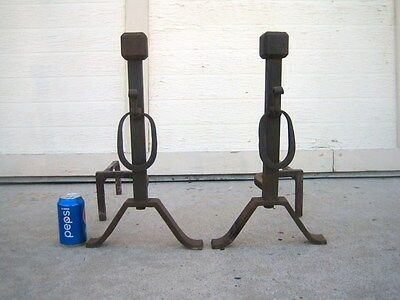Antique Wrought Iron Andirons Fireplace Firedogs Arts & Crafts Square Bolt O