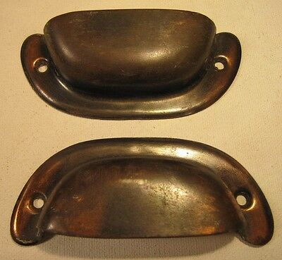 Vintage Antique Drawer Bin Pulls Japanned Finish Lot of 2