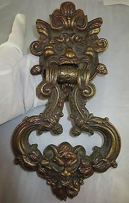Very Rare GreenMan Gothic Heavy Solid Brass Bronze North Wind Door Knocker