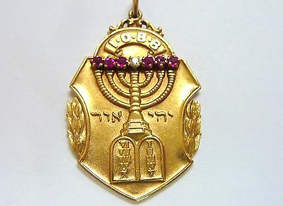 Vtge 1918 14kt yg I.O.B.B. rubies diamonds Fob/pendant 10 commandments I-4033