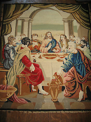 Antique Victorian Wool work Regligious Needlepoint Tapestry - The Last Supper