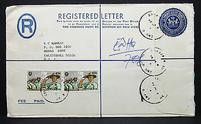 Nigeria Registered Letter to USA Fee Paid Jamboree Kobo Stamp R-Brief (G-9356