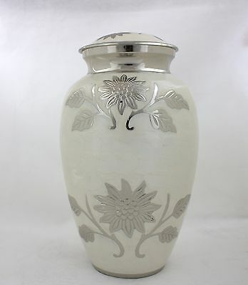 Adult Cremation Urn, Large Funeral Memorial Ashes Urn , White Flower design