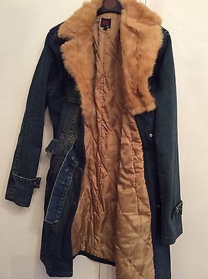 MISS POSH DENIM JEAN COAT WITH PADDED LINING AND FUR COLLAR SIZE S CHEST 32 Inch