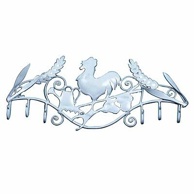 6 Hook Wrought Iron White Rooster   Renovators Supply