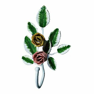 Flower Robe Hook Wrought Iron Pink Rose | Renovators Supply