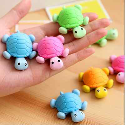 Cute 3D Turtle Tortoise Cleaning Rubber Eraser School Stationary Kid Gift Toy