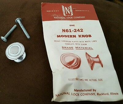 Modern Knob Chrome with White Lines Vintage National Lock Company #N61-242 NOS