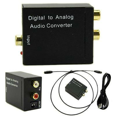 Optical Digital Coaxial Toslink Signal to Analog Audio Converter Adapter RCA New