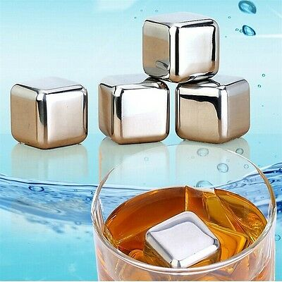 Reusable 304 Stainless Steel Whiskey Cooler Stones Ice Cubes Chillers Drink GT