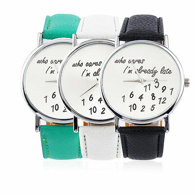 New Fashion Luxury Women's Men's Wrist Watches PU Leather Band Funny Cute GT