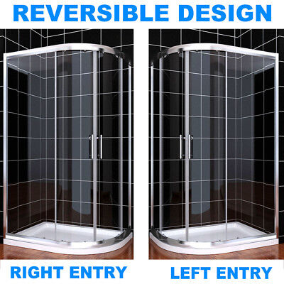 Shower Cubicle and Tray Offset Quadrant Enclosure Door Walk in Corner 6mm Glass