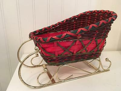 Vtg Small Red and Green Basket Weave Sleigh with Brass Runners