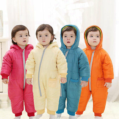 Baby Kids Winter Cold Proof Eiderdown Jumpsuit Spacesuit Snowsuit Bodysuit GT