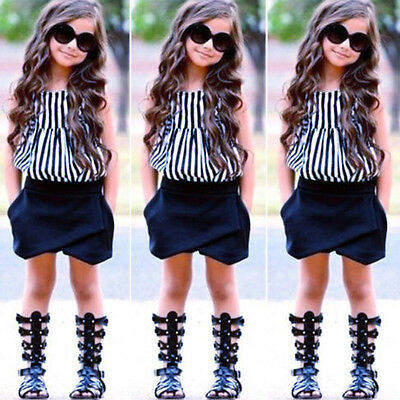 New 2Pcs Baby Girls Clothes Striped T-shirt Tops+ Short Pants Outfits Set GT