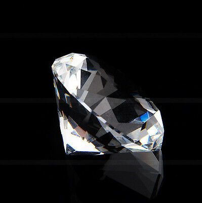 40mm Clear Crystal Diamond Cut Glass Jewelry Paperweight Wedding Home Decor Gift