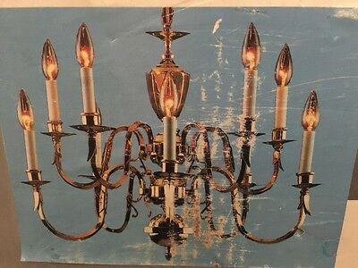10 LIGHT Heavy Ornate BRASS CHANDELIER Colonial LAMP