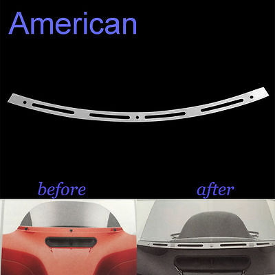 Chrome 4 Slotted Batwing Fairing Windshield Trim For Harley Touring 1996-2013