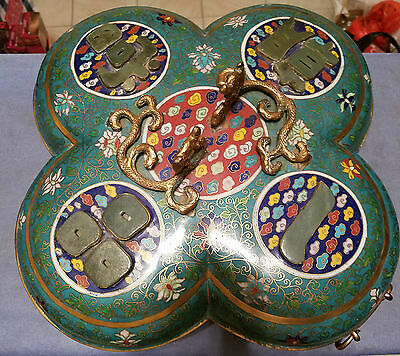 Very Beautiful and Large Chinese Cloisonne Bowl with Jade Insets.