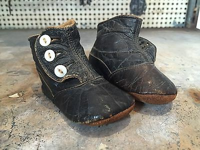 Pair of Vintage Brown Leather Child's Shoes