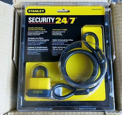 STANLEY Security 24/7 Combination Padlock & Steel Cable NEW
