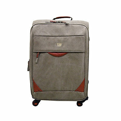 """LONDON Troop Travel Suitcase Luggage Canvas Fabric Baggage Italy Leather 18"""" 24"""""""