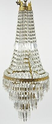 Nice French Antique Empire Bronze Crystal Chandelier With Lights