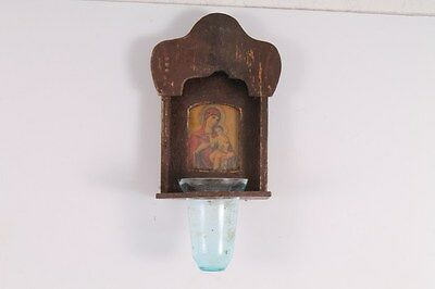 Antique Old Handmade Small Wooden Iconostasis With Float Light.