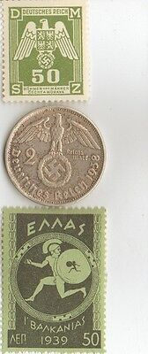 "-- Antique  WWII -  *greek ""Mercury stamp"" + wwii silver *german  EAGLE  coin ."
