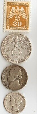 *free -WW2 - us  *NICKEL + *WW2 - *german  SILVER  EAGLE  coin/stamp