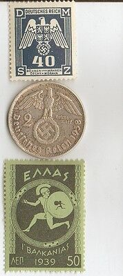 <-- Antique  WWII -  *greek  Stamp + 1938 -  wwii silver *german  EAGLE  coin .